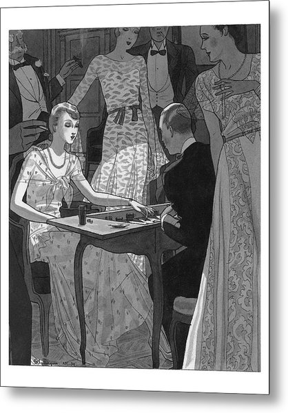 Illustration Of A Woman And Man Playing Backgammon Metal Print