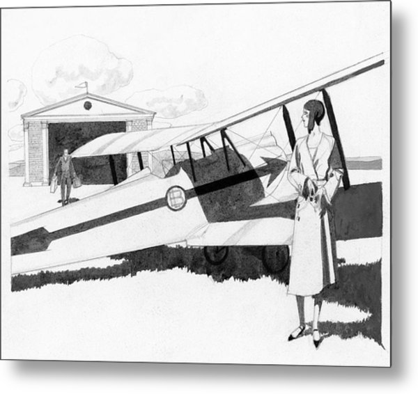 Illustration Of A Woman Standing Next To A Biplane Metal Print by Pierre Mourgue