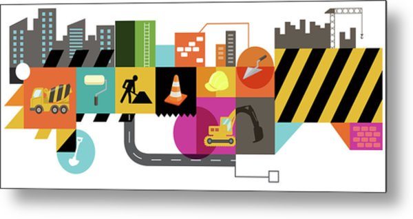 Illustration Of Construction Collage Metal Print