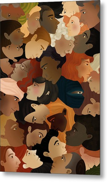 Illustration Of Crowd Metal Print by Fanatic Studio / Science Photo Library