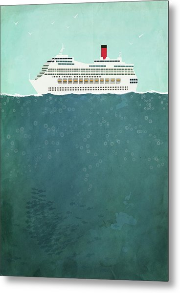 Illustration Of Cruise Ship Sailing On Metal Print by Malte Mueller