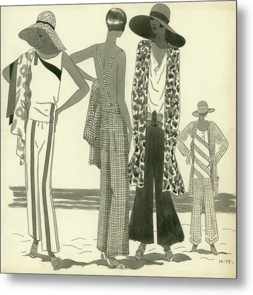 Illustration Of Four Women At A Beach Metal Print