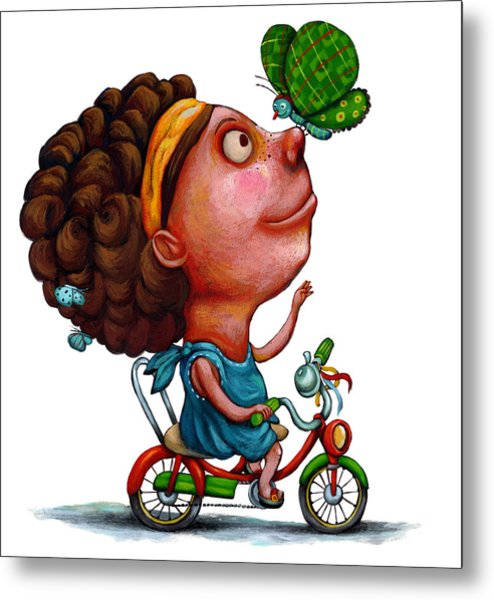 Illustration Of Girl Playing With Butterfly Metal Print by Fanatic Studio / Science Photo Library