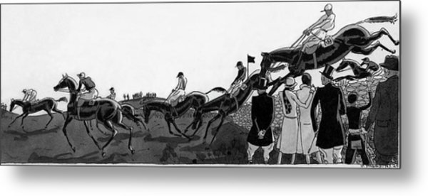Illustration Of Jockeys Riding Horses Metal Print by Jean Pages