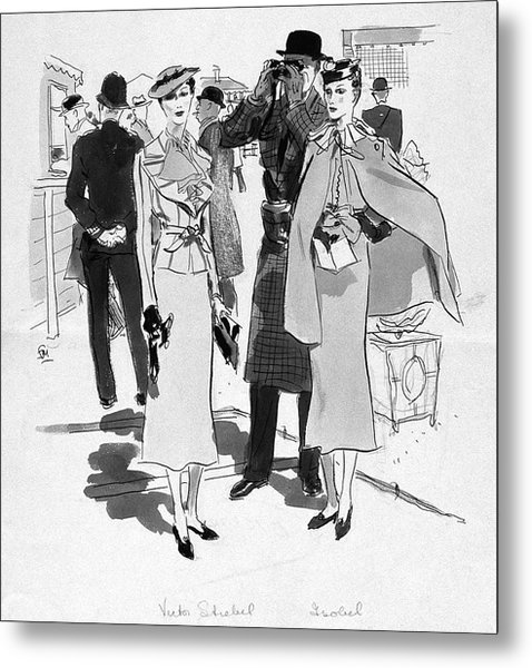 Illustration Of Men And Woman At The Races Metal Print by Francis Marshall