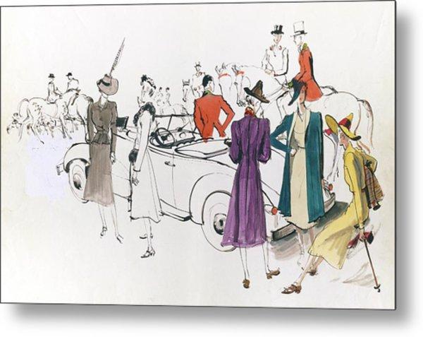Illustration Of Models And Equestrian Hunters Metal Print