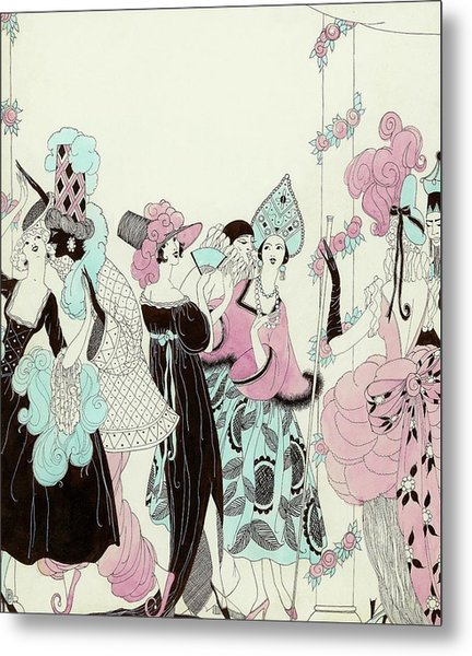 Illustration Of People At A Costume Party Metal Print by Helen Dryden