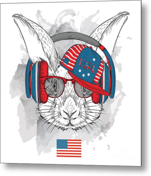 Illustration Of Rabbit In The Glasses Metal Print