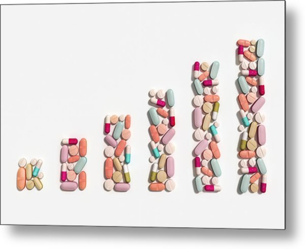 Illustration Of Rising Cost Of Prescription Drugs Metal Print by Fanatic Studio / Science Photo Library