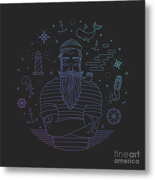 Illustration Of Sailor With Pipe Dreams Metal Print