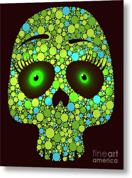 Illustration Of Skull Made With Colored Metal Print