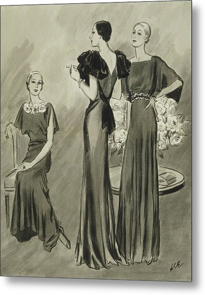 Illustration Of Three Models In Evening Gowns Metal Print by Creelman
