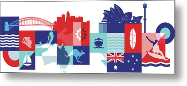 Illustration Of Tourist Attractions In Australia Metal Print by Fanatic Studio / Science Photo Library
