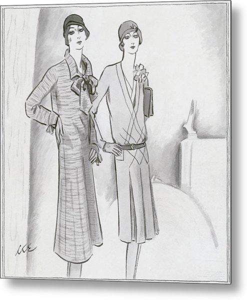 Illustration Of Two Women Metal Print