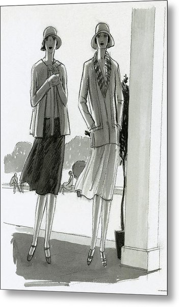 Illustration Of Two Women Standing In A Shadow Metal Print by Porter Woodruff