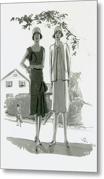 Illustration Of Two Women Standing In Shadow Metal Print by Porter Woodruff