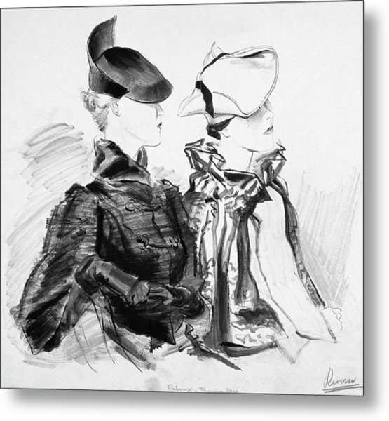 Illustration Of Two Women Wearing Berets And Capes Metal Print
