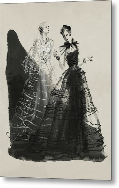 Illustration Of Two Women Wearing Evening Gowns Metal Print