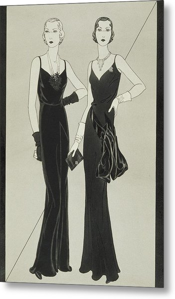 Illustration Of Two Women Wearing Mainbocher Metal Print by Douglas Pollard
