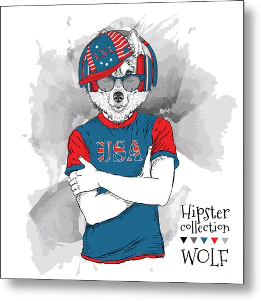 Illustration Of Wolf  Dressed Up In The Metal Print