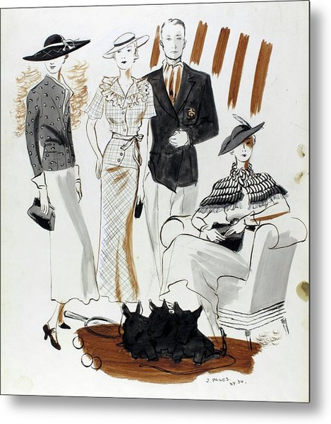 Illustration Of Women And A Man In Country Club Metal Print