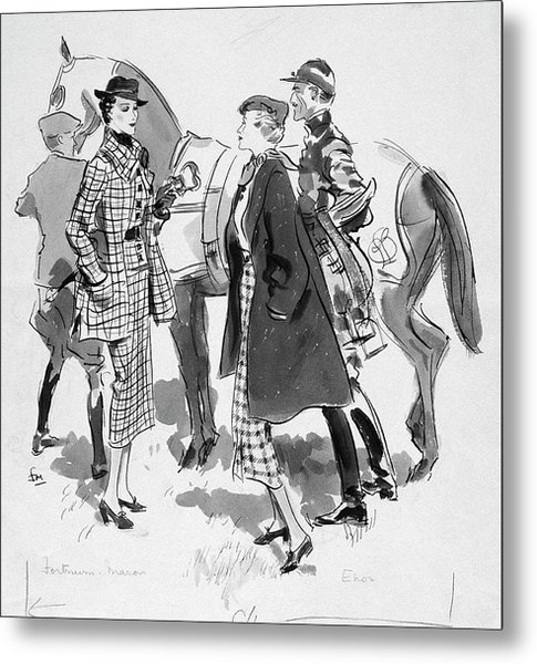 Illustration Of Women Standing In Front Of Racing Metal Print by Francis Marshall