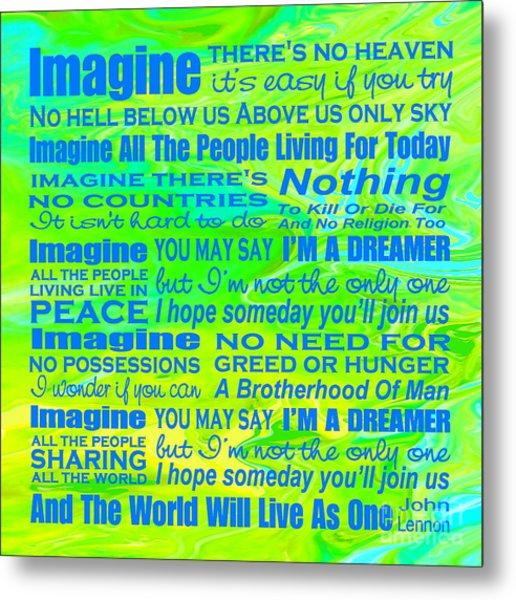 Imagine Song Lyrics - Landform Metal Print