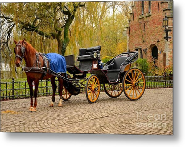 Immaculate Horse And Carriage Bruges Belgium Metal Print