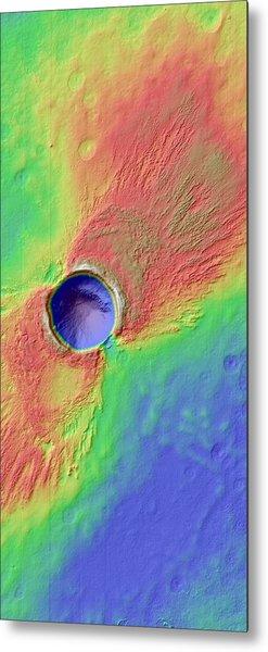 Impact Crater In Arcadia Planitia Metal Print