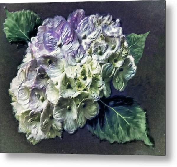 Impasto Hydrangea Metal Print by Jill Balsam