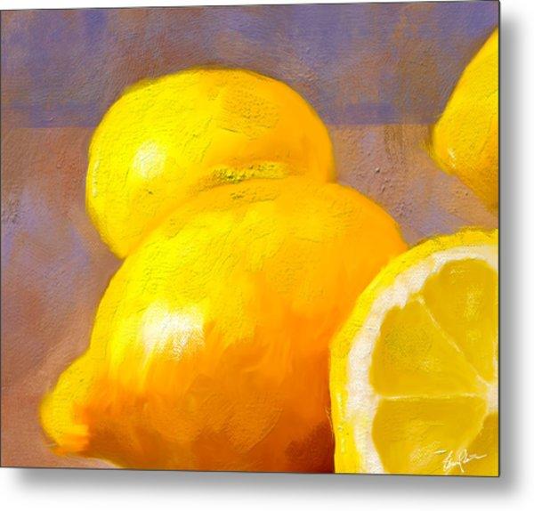 Impasto Lemons Metal Print