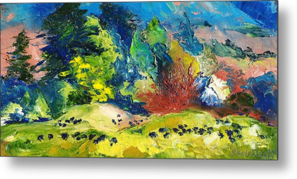 Impressionist Landscape With Cows Fine Art Oil Painting Metal Print