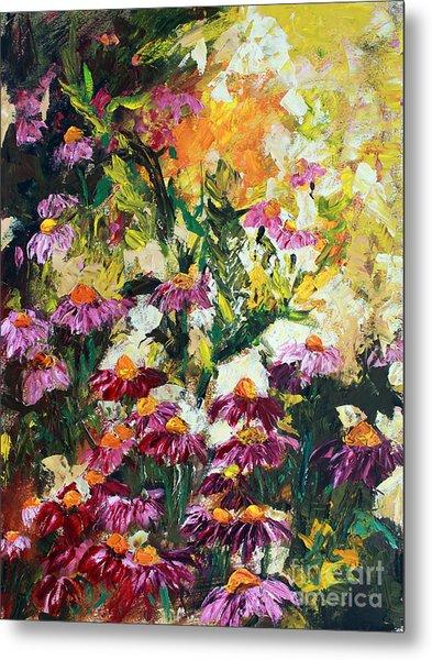 Impressionist Wild Purple Coneflowers Metal Print