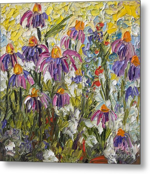 Impressionist Wildflower Patch Oil Painting Metal Print