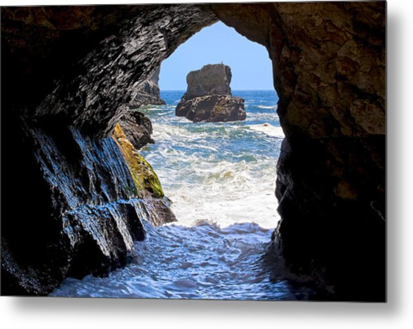 In A Cave By The Sea - Northern Caifornia Metal Print