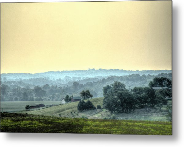 In A Misty Hollow Metal Print