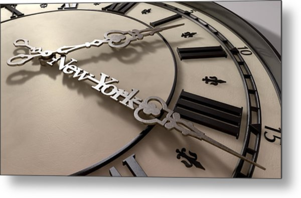 In A New York Minute Clock Metal Print