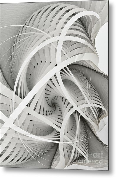In Betweens-white Fractal Spiral Metal Print