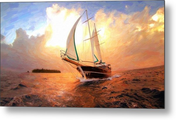In Full Sail - Oil Painting Edition Metal Print