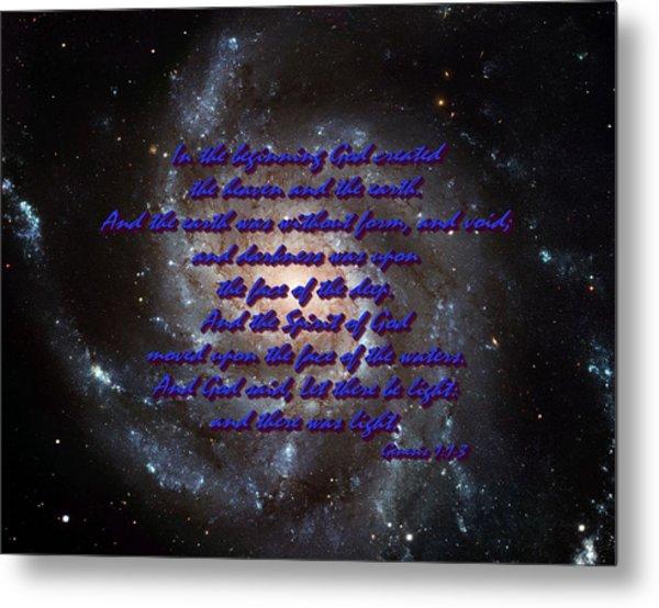 In The Beginning God Genesis 1 1-3 Metal Print by L Brown
