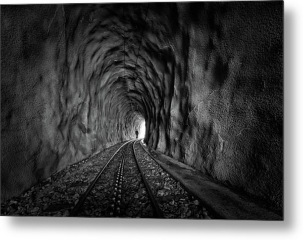In The Bowels Of The Mountain-bw Metal Print