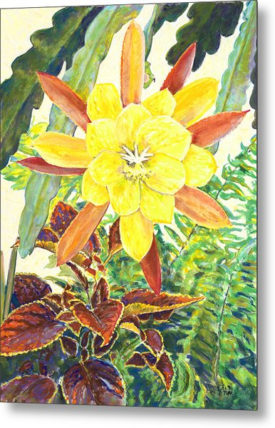 In The Conservatory - 3rd Center - Yellow Metal Print