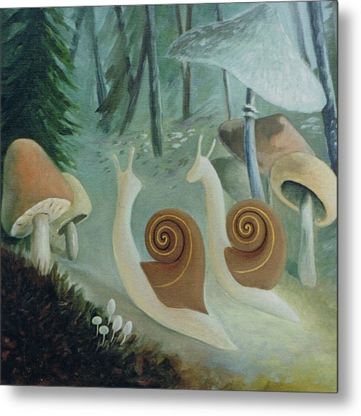 In The Mushroom Forest Metal Print