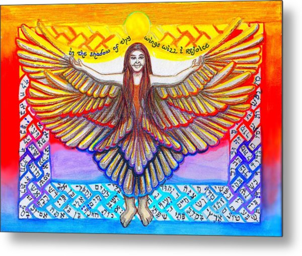 In The Shadow Of Thy Wings Psalms Metal Print