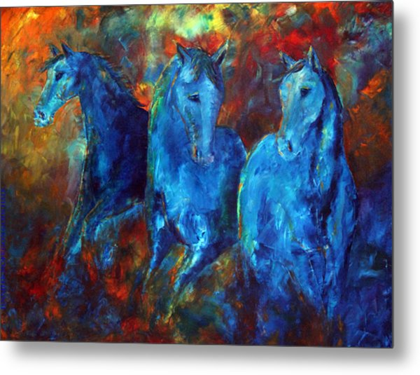 Abstract Horse Painting Blue Equine Metal Print
