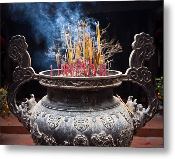 Incense Sticks Burn In Large Ceremonial Temple Urn Metal Print
