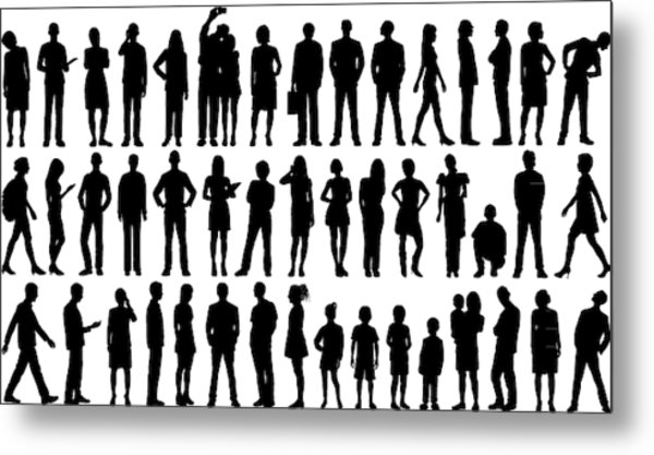 Incredibly Detailed People Silhouettes Metal Print by Leontura