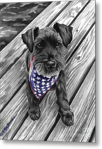 Watercolor Schnauzer Black Dog Metal Print