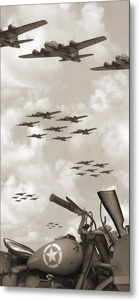 Indian 841 And The B-17 Panoramic Sepia Metal Print