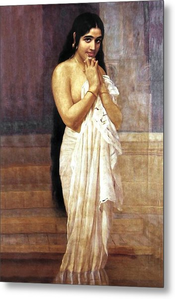 Indian Girl After Bath Metal Print